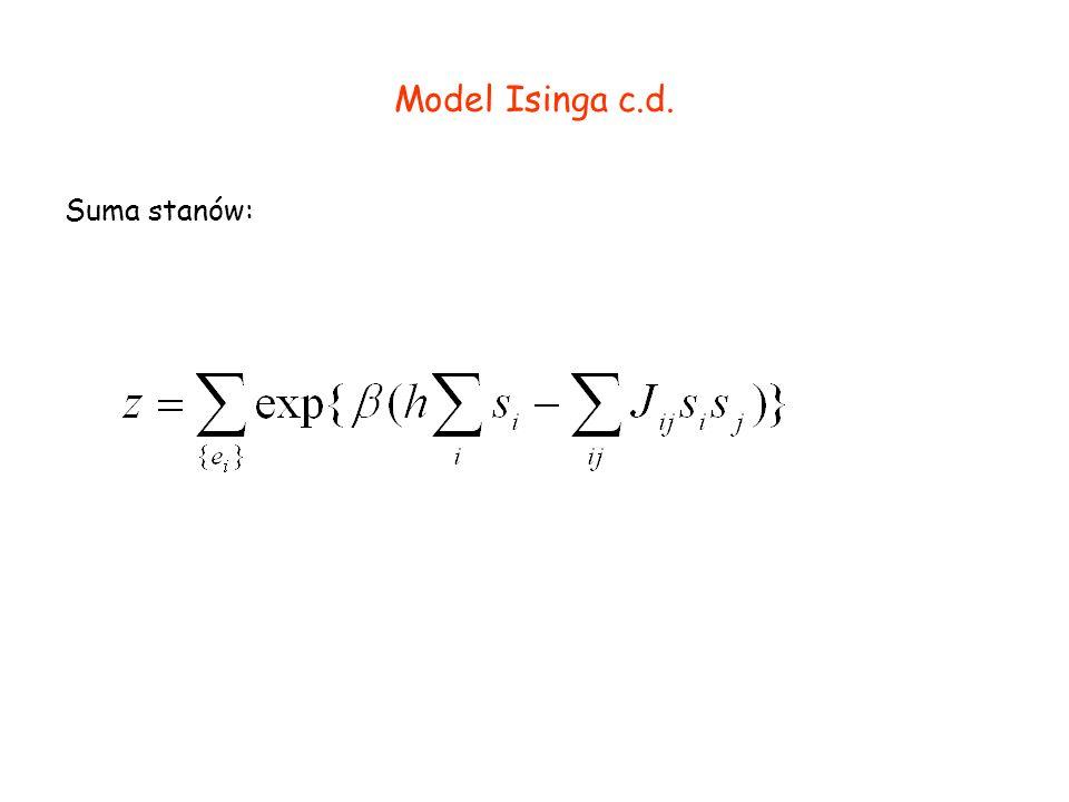 Model Isinga c.d. Suma stanów:
