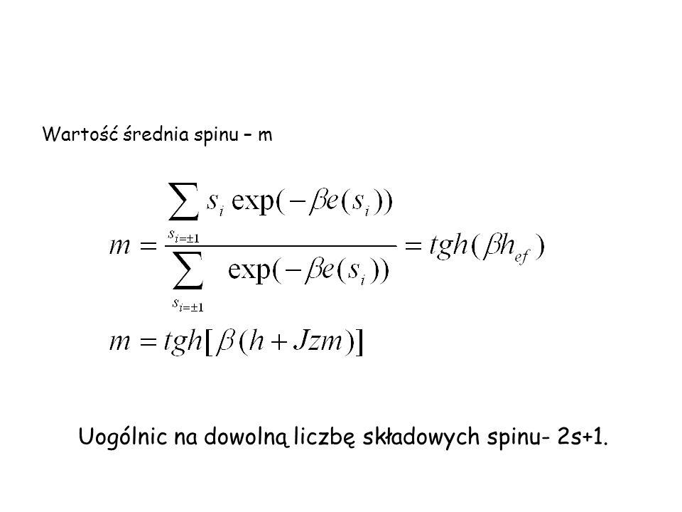 Uogólnic na dowolną liczbę składowych spinu- 2s+1.