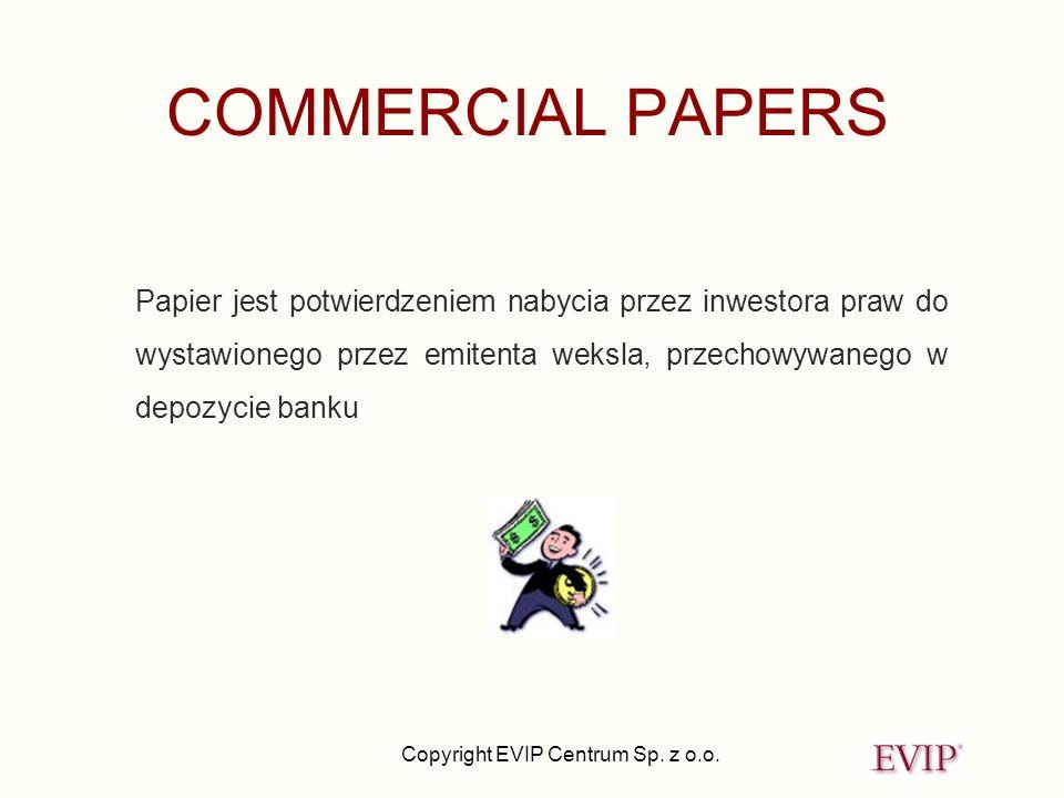 COMMERCIAL PAPERS Papier jest potwierdzeniem nabycia przez inwestora praw do wystawionego przez emitenta weksla, przechowywanego w depozycie banku.