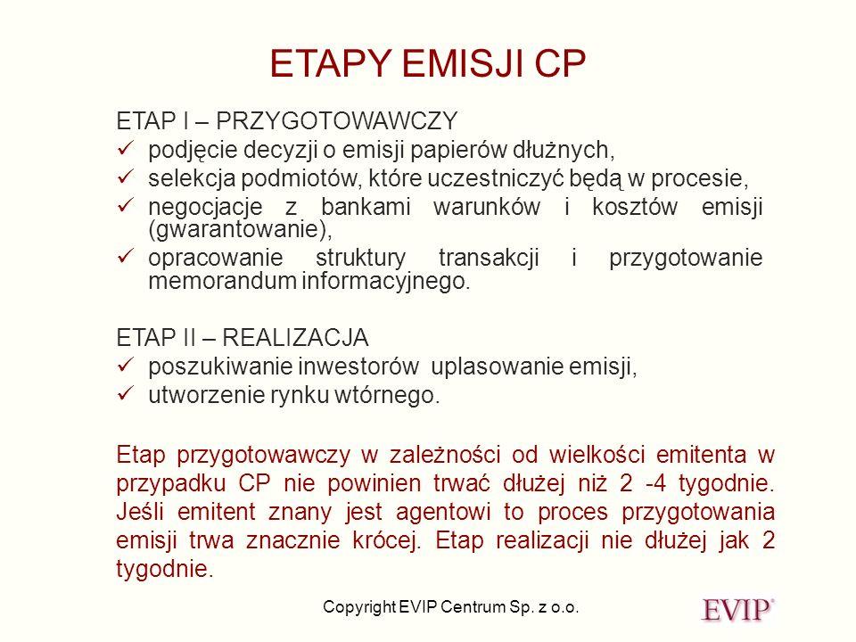 ETAPY EMISJI CP ETAP I – PRZYGOTOWAWCZY