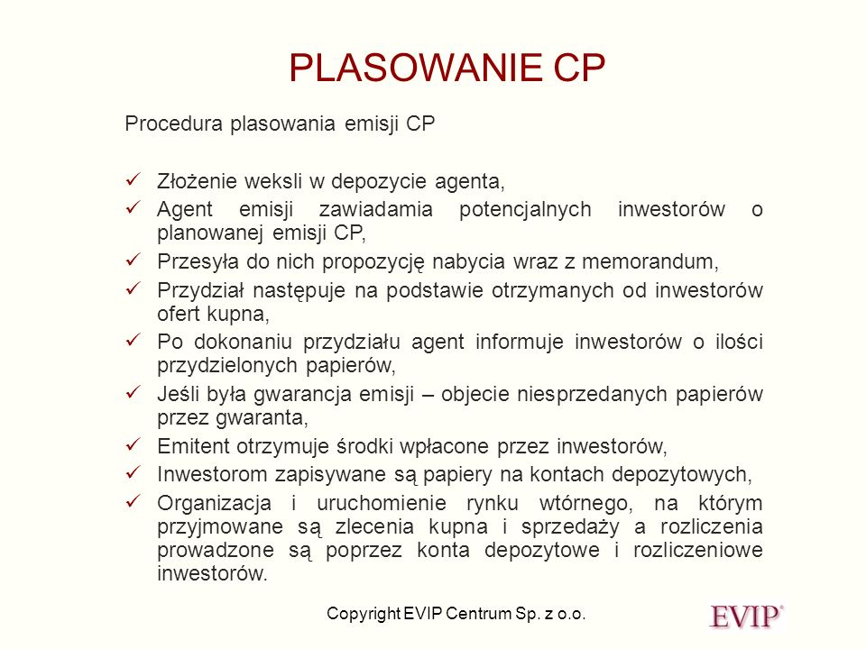 PLASOWANIE CP Procedura plasowania emisji CP
