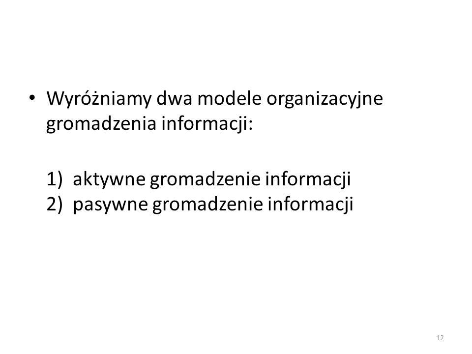 Wyróżniamy dwa modele organizacyjne gromadzenia informacji: