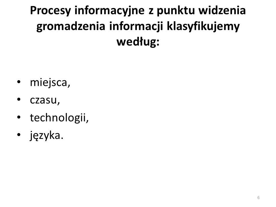 Procesy informacyjne z punktu widzenia gromadzenia informacji klasyfikujemy według: