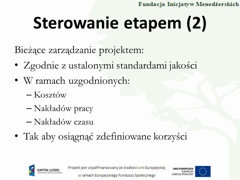Sterowanie etapem (2) Bieżące zarządzanie projektem: