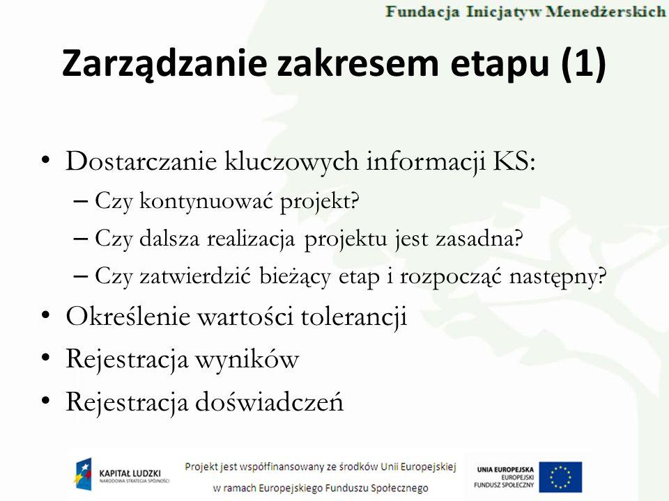 Zarządzanie zakresem etapu (1)