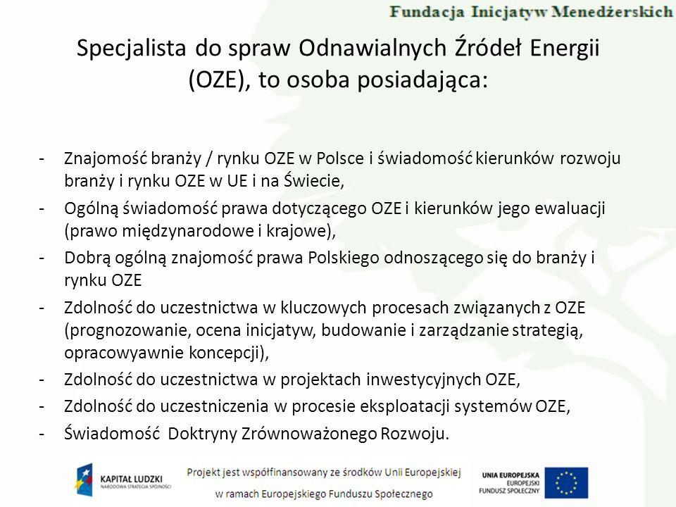Specjalista do spraw Odnawialnych Źródeł Energii (OZE), to osoba posiadająca: