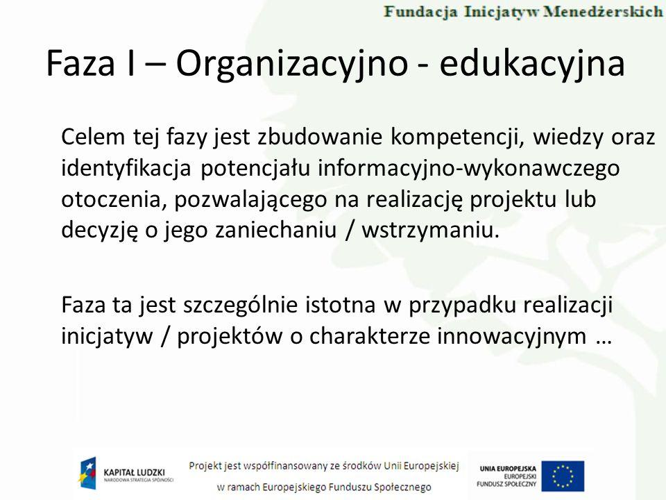 Faza I – Organizacyjno - edukacyjna