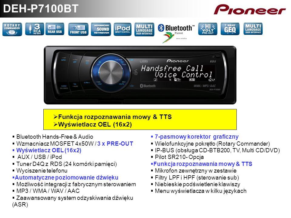 DEH-P7100BT Funkcja rozpoznawania mowy & TTS Wyświetlacz OEL (16x2)