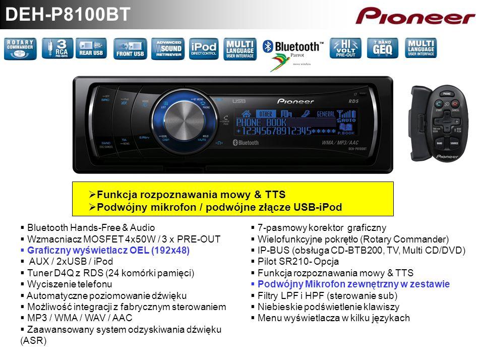 DEH-P8100BT Funkcja rozpoznawania mowy & TTS