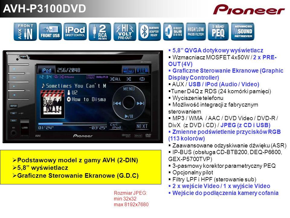 AVH-P3100DVD Podstawowy model z gamy AVH (2-DIN) 5,8 wyświetlacz