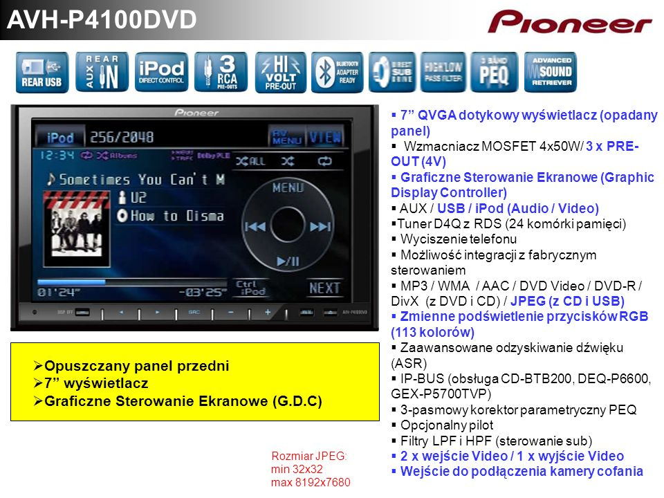AVH-P4100DVD Opuszczany panel przedni 7 wyświetlacz