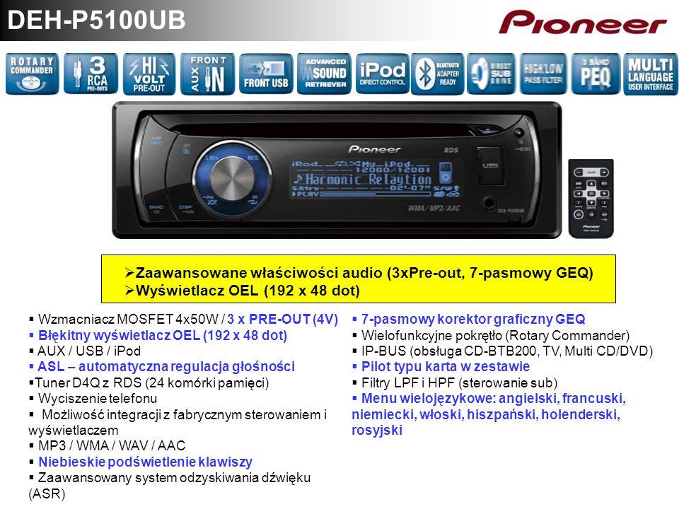 DEH-P5100UB Zaawansowane właściwości audio (3xPre-out, 7-pasmowy GEQ)