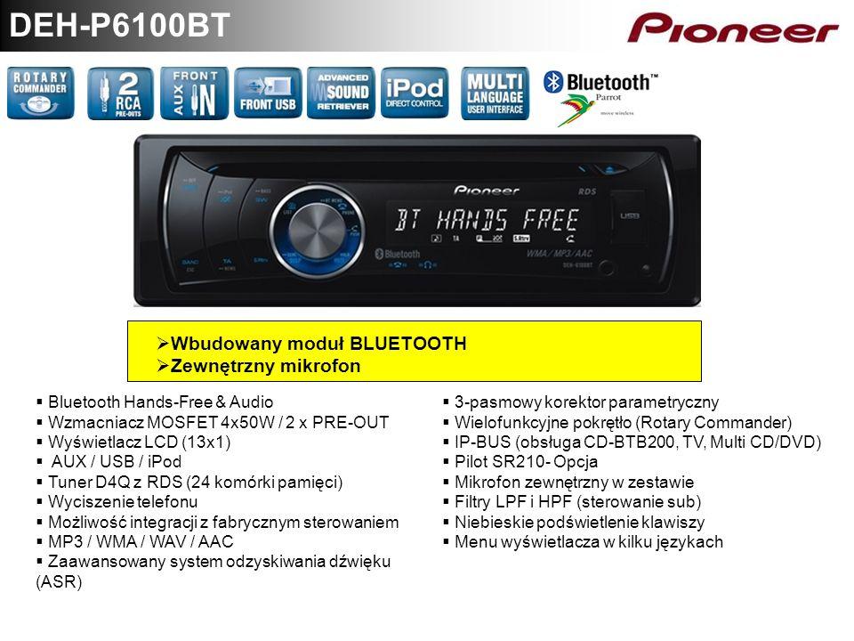 DEH-P6100BT Wbudowany moduł BLUETOOTH Zewnętrzny mikrofon