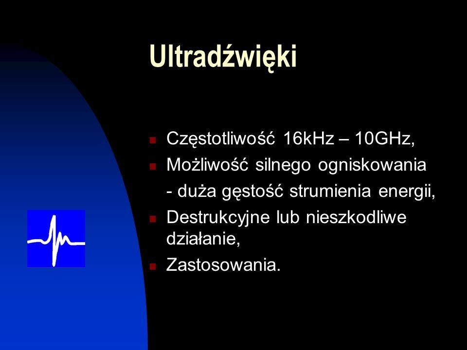 Ultradźwięki Częstotliwość 16kHz – 10GHz,