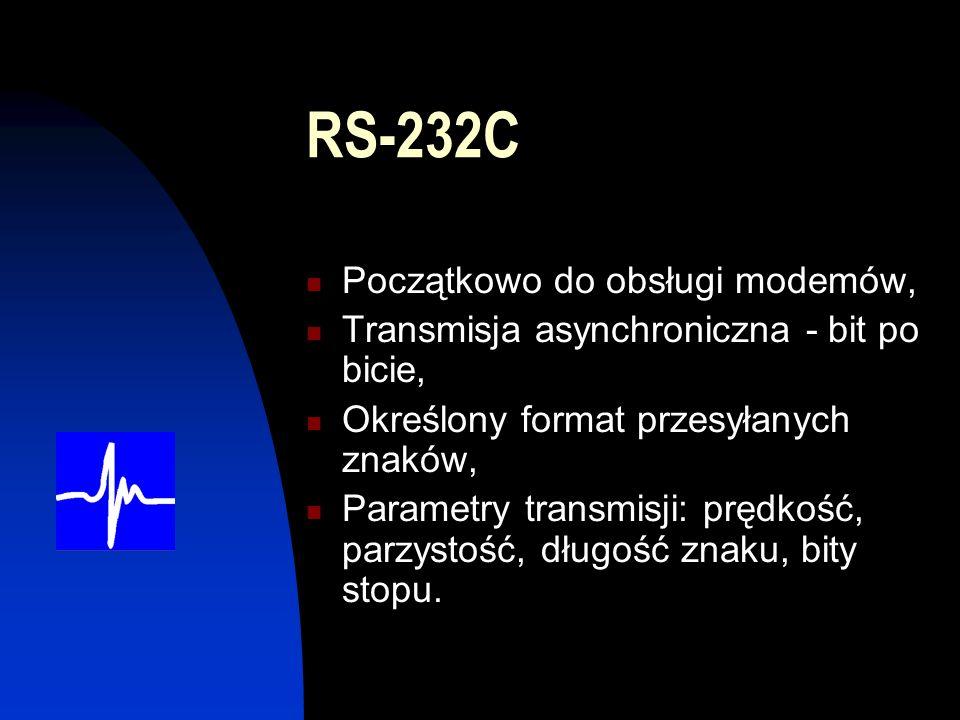 RS-232C Początkowo do obsługi modemów,
