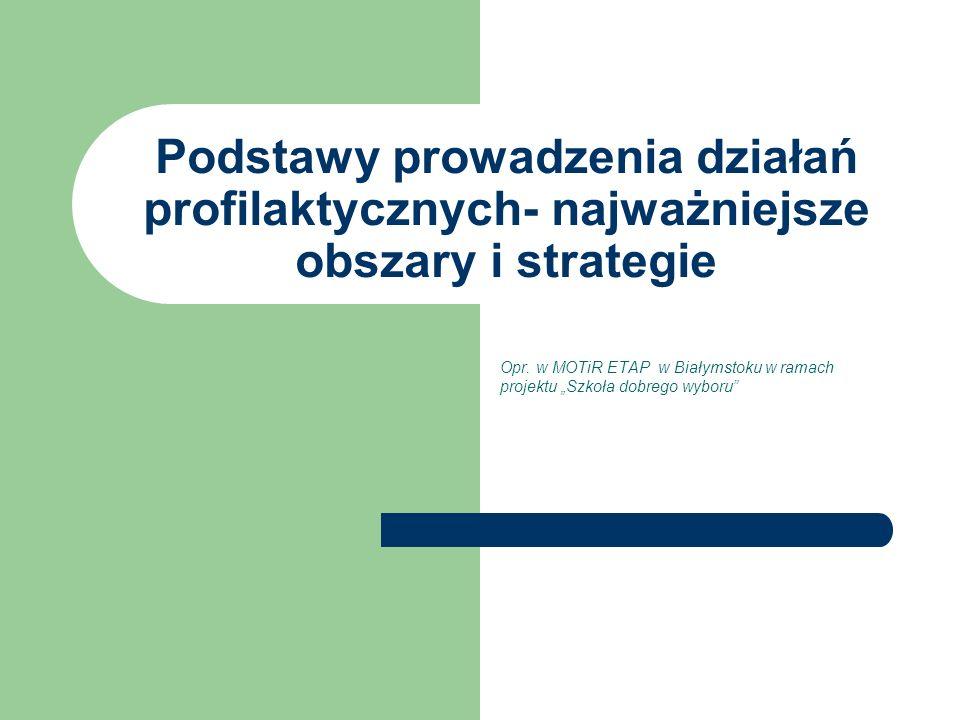Podstawy prowadzenia działań profilaktycznych- najważniejsze obszary i strategie