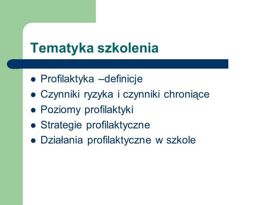 Tematyka szkolenia Profilaktyka –definicje