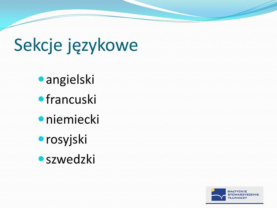 Sekcje językowe angielski francuski niemiecki rosyjski szwedzki