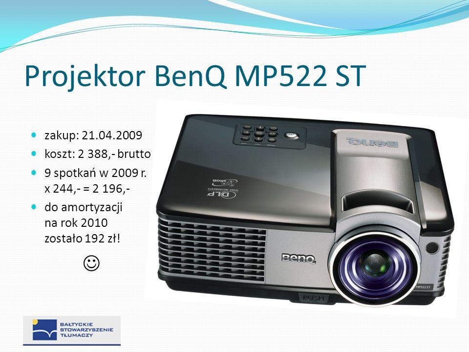 Projektor BenQ MP522 ST  zakup: 21.04.2009 koszt: 2 388,- brutto