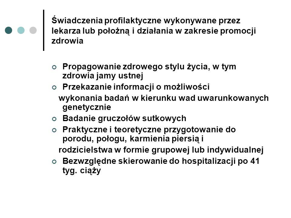 Świadczenia profilaktyczne wykonywane przez lekarza lub położną i działania w zakresie promocji zdrowia