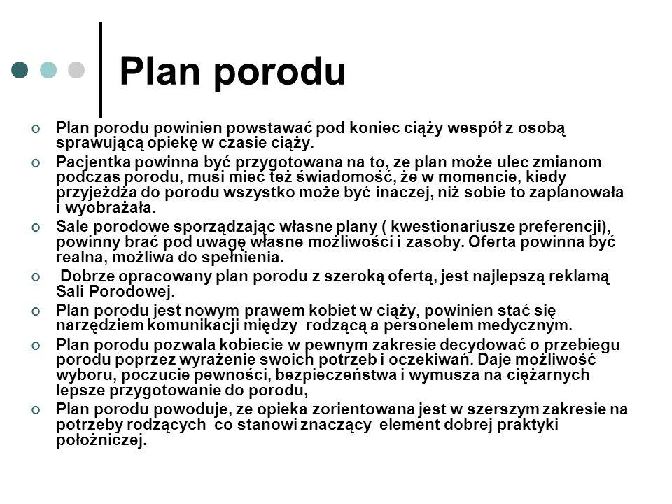 Plan porodu Plan porodu powinien powstawać pod koniec ciąży wespół z osobą sprawującą opiekę w czasie ciąży.