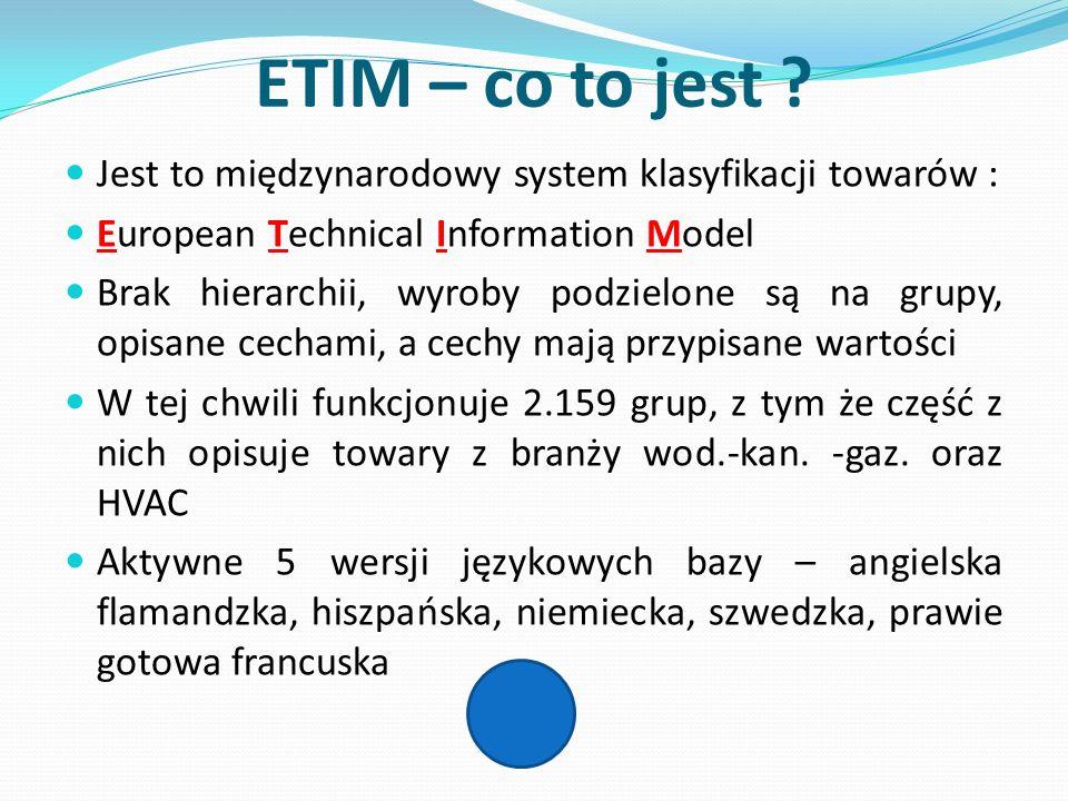 ETIM – co to jest Jest to międzynarodowy system klasyfikacji towarów : European Technical Information Model.