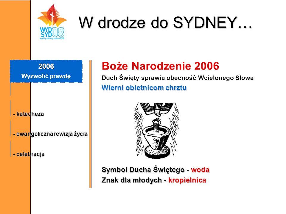 W drodze do SYDNEY… Boże Narodzenie 2006 2006 Wierni obietnicom chrztu
