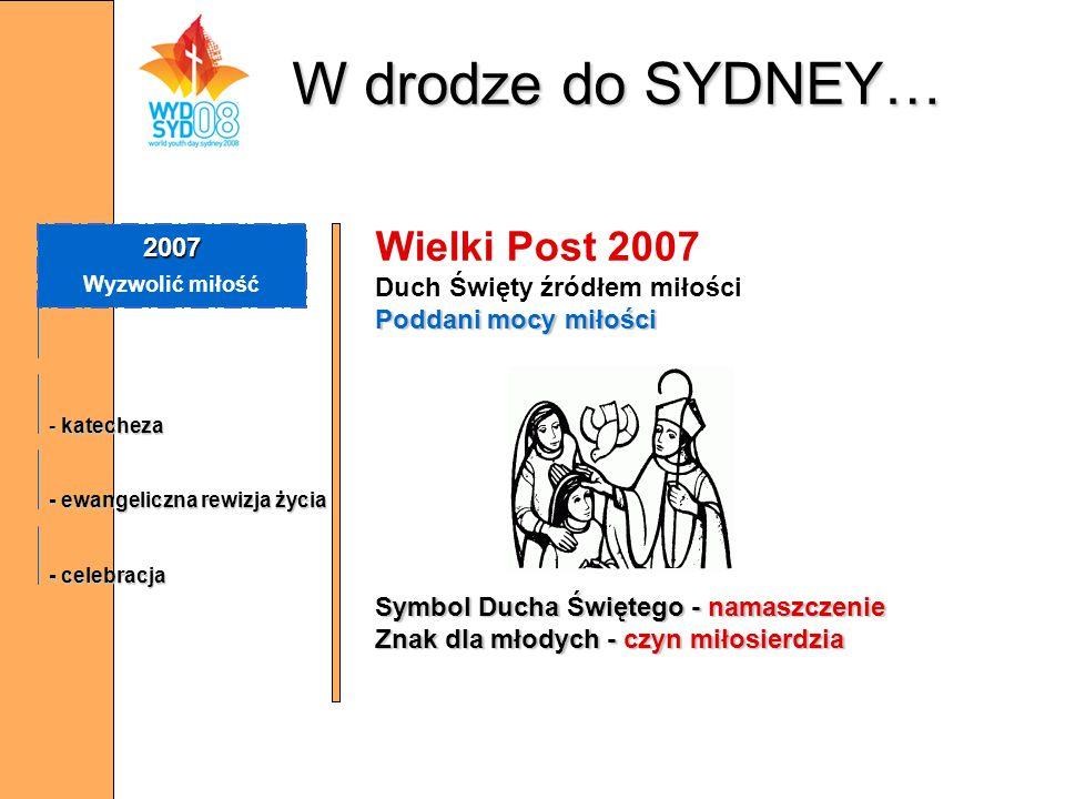W drodze do SYDNEY… Wielki Post 2007 2007 Duch Święty źródłem miłości