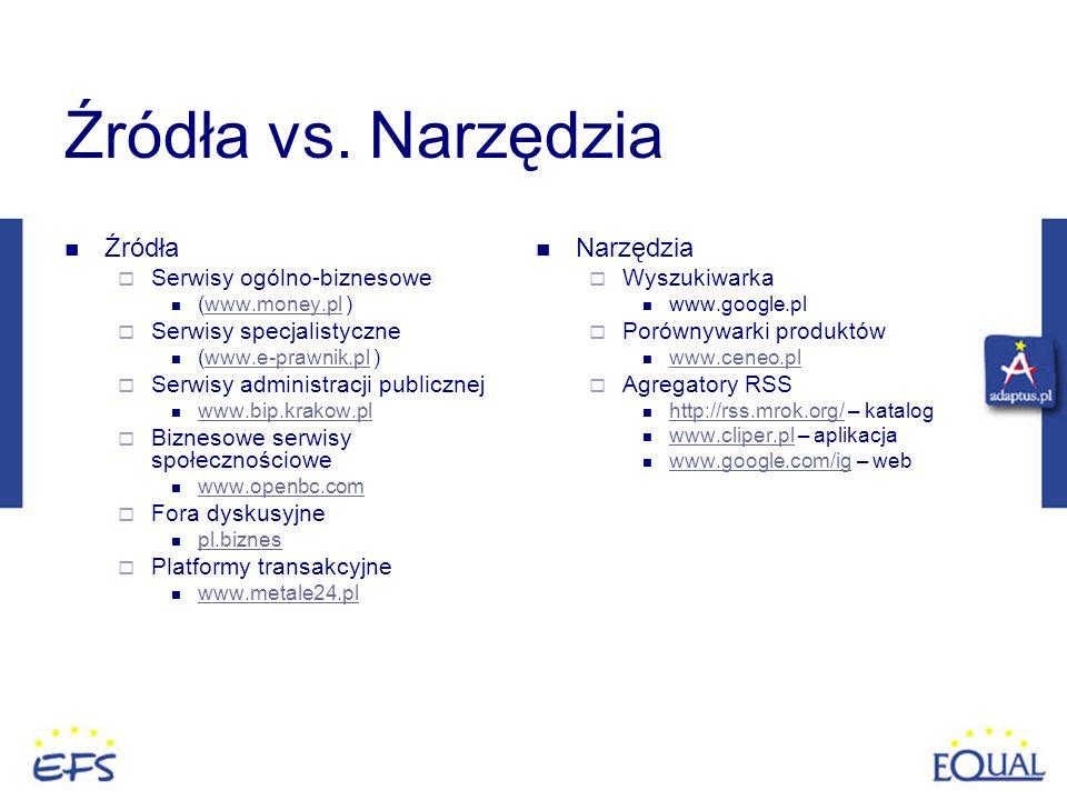 Źródła vs. Narzędzia Źródła Narzędzia Serwisy ogólno-biznesowe