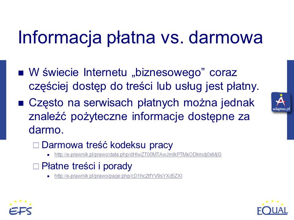 Informacja płatna vs. darmowa