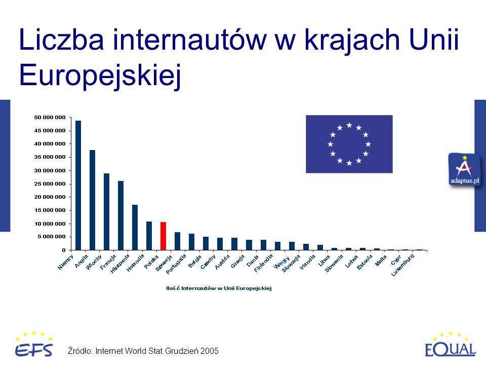 Liczba internautów w krajach Unii Europejskiej