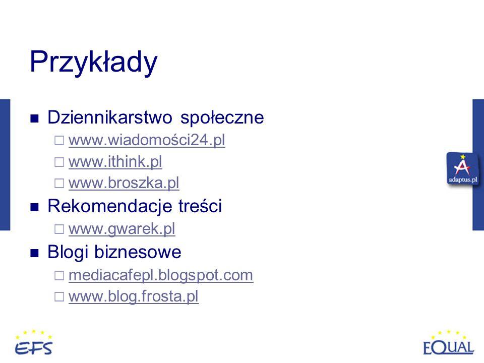 Przykłady Dziennikarstwo społeczne Rekomendacje treści Blogi biznesowe