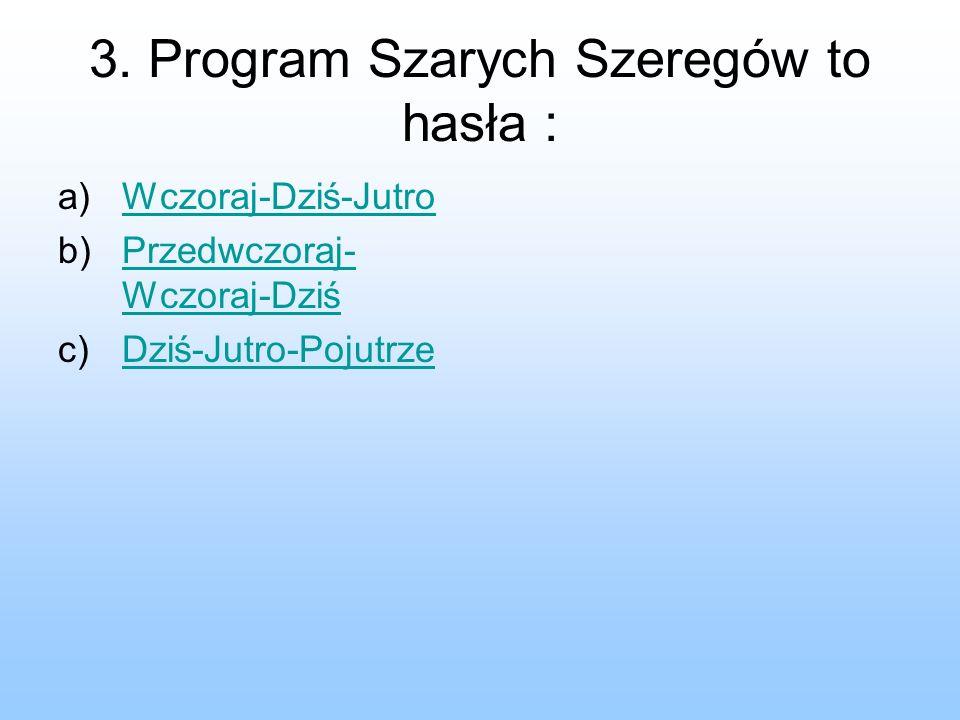 3. Program Szarych Szeregów to hasła :