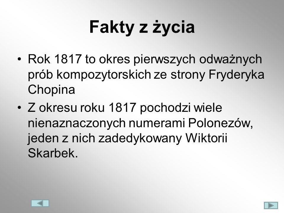 Fakty z życia Rok 1817 to okres pierwszych odważnych prób kompozytorskich ze strony Fryderyka Chopina.