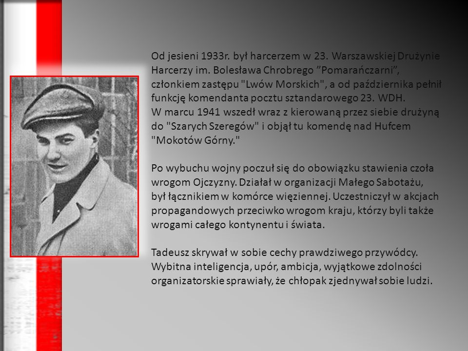 Od jesieni 1933r. był harcerzem w 23. Warszawskiej Drużynie Harcerzy im. Bolesława Chrobrego Pomarańczarni , członkiem zastępu Lwów Morskich , a od października pełnił funkcję komendanta pocztu sztandarowego 23. WDH.