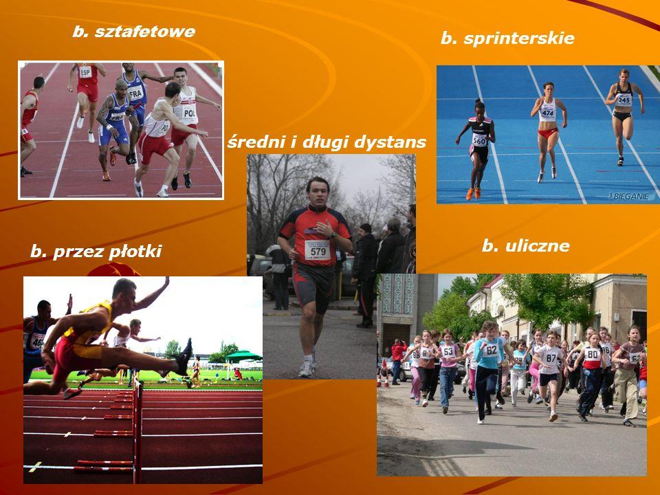 b. sztafetowe b. sprinterskie średni i długi dystans b. uliczne b. przez płotki