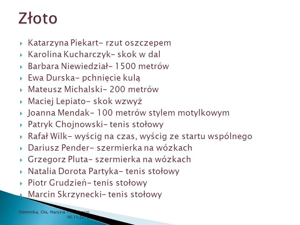 Złoto Katarzyna Piekart- rzut oszczepem