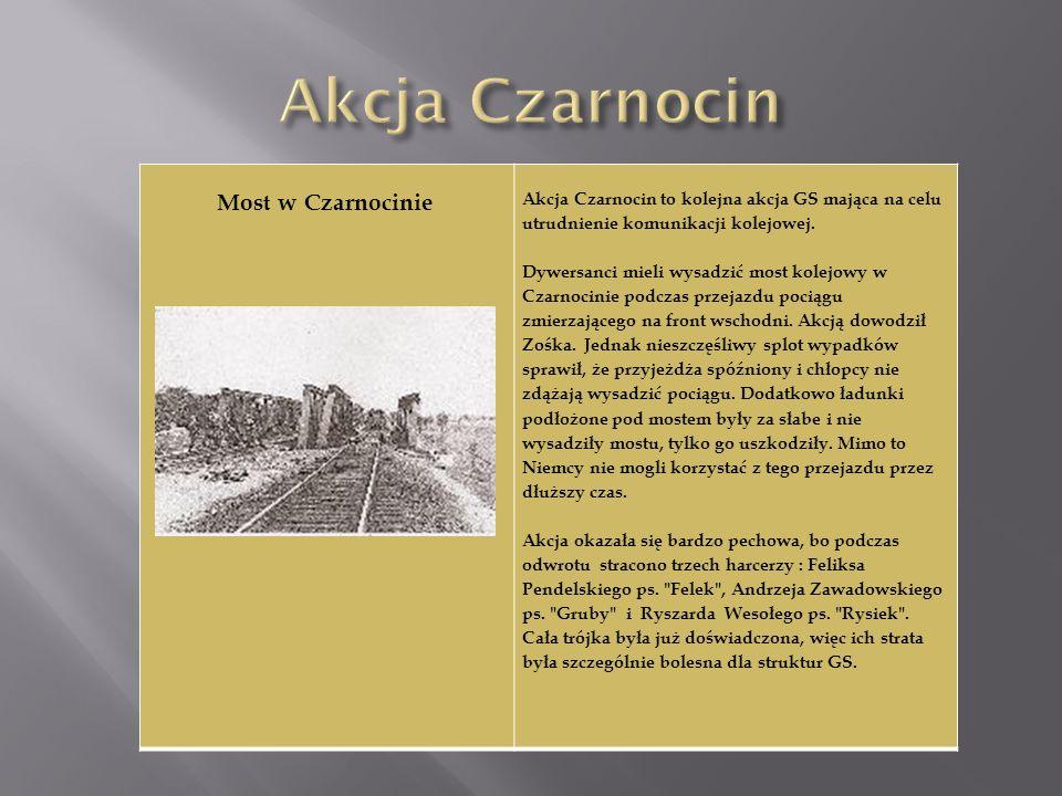 Akcja Czarnocin Most w Czarnocinie. Akcja Czarnocin to kolejna akcja GS mająca na celu utrudnienie komunikacji kolejowej.