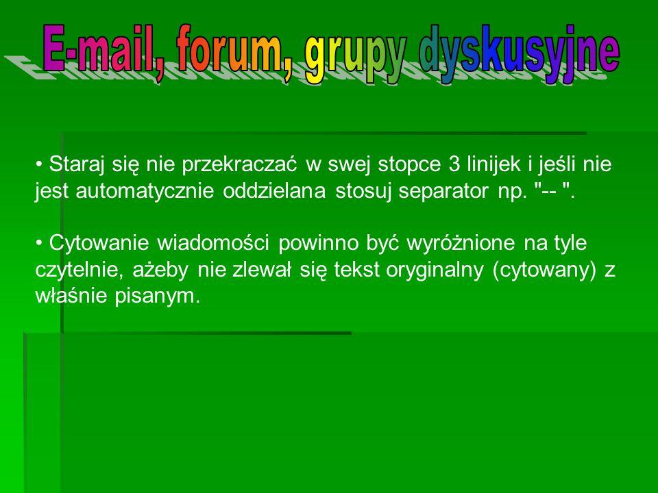 E-mail, forum, grupy dyskusyjne