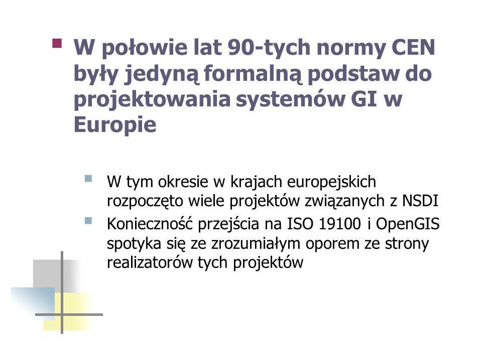 W połowie lat 90-tych normy CEN były jedyną formalną podstaw do projektowania systemów GI w Europie