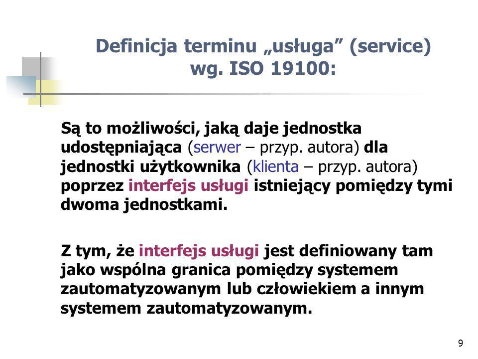 "Definicja terminu ""usługa (service) wg. ISO 19100:"
