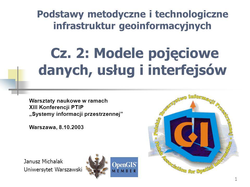 Podstawy metodyczne i technologiczne infrastruktur geoinformacyjnych Cz. 2: Modele pojęciowe danych, usług i interfejsów