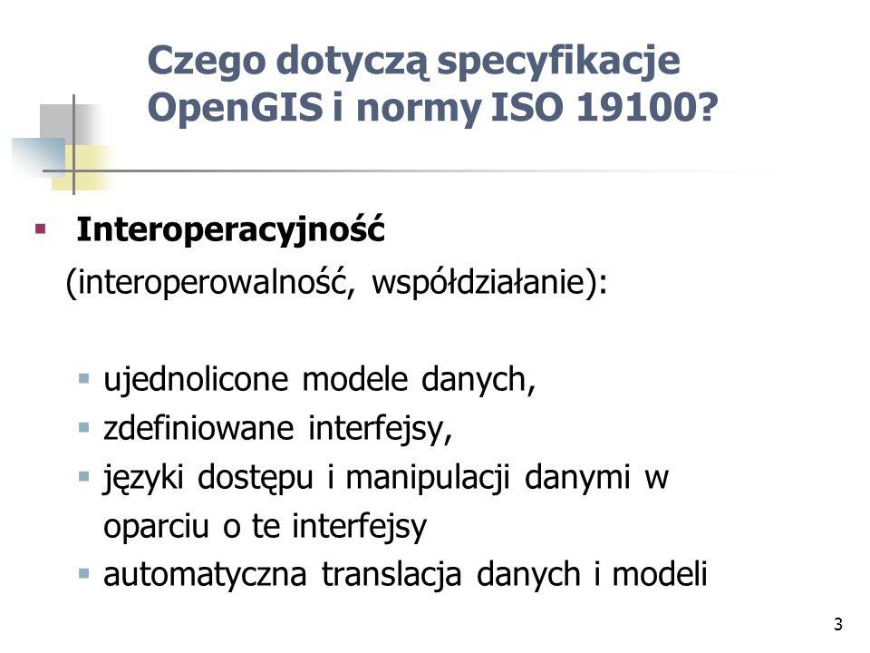 Czego dotyczą specyfikacje OpenGIS i normy ISO 19100