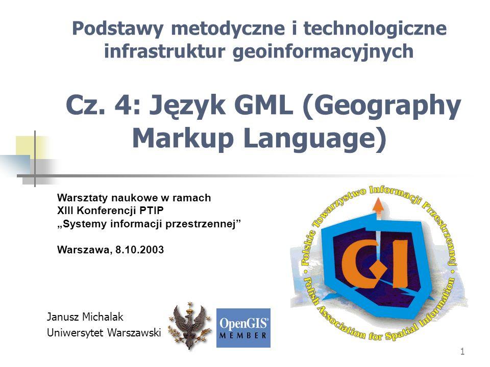 Podstawy metodyczne i technologiczne infrastruktur geoinformacyjnych Cz. 4: Język GML (Geography Markup Language)