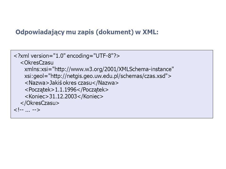 Odpowiadający mu zapis (dokument) w XML:
