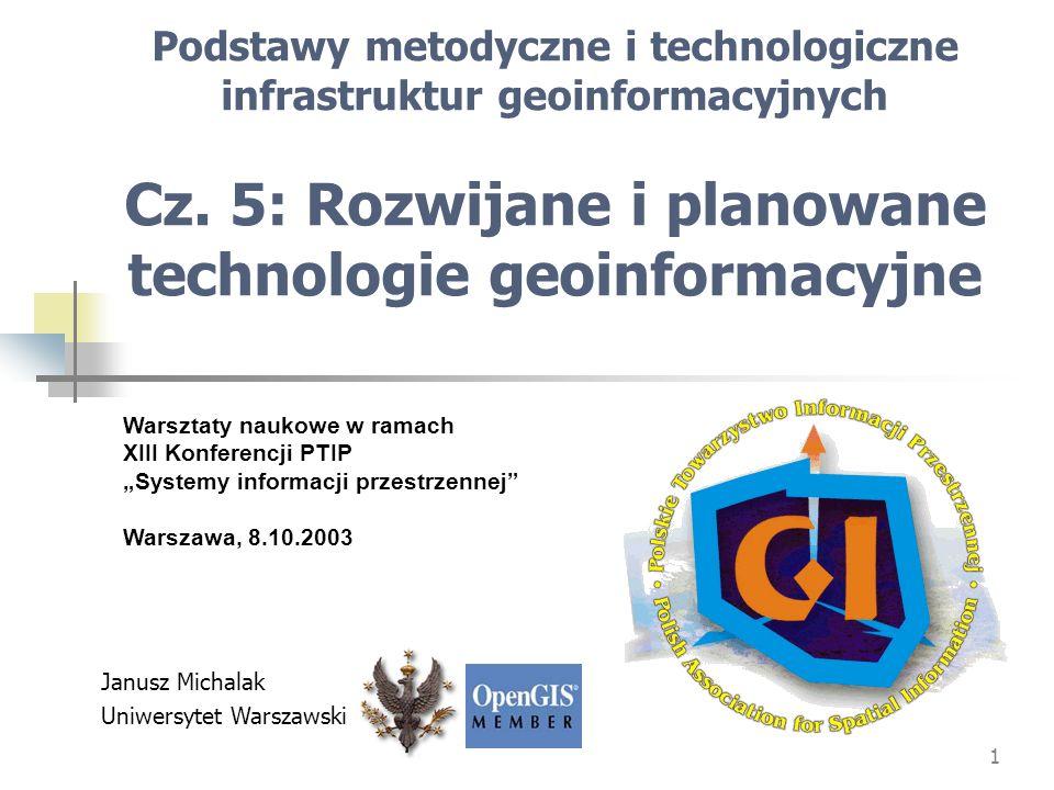 Podstawy metodyczne i technologiczne infrastruktur geoinformacyjnych Cz. 5: Rozwijane i planowane technologie geoinformacyjne