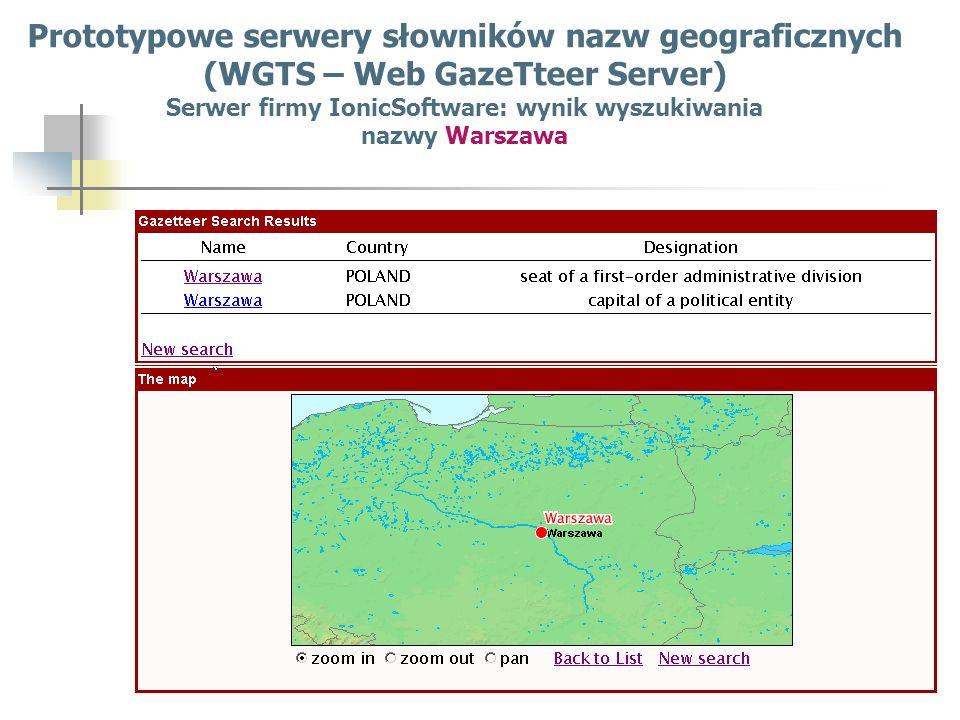 Prototypowe serwery słowników nazw geograficznych