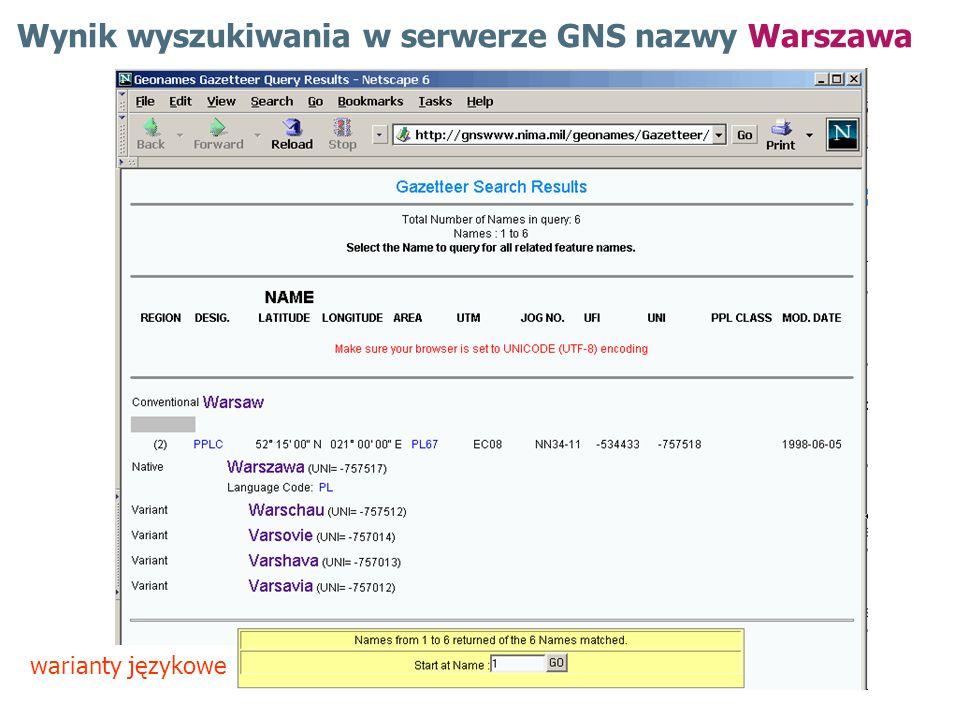 Wynik wyszukiwania w serwerze GNS nazwy Warszawa