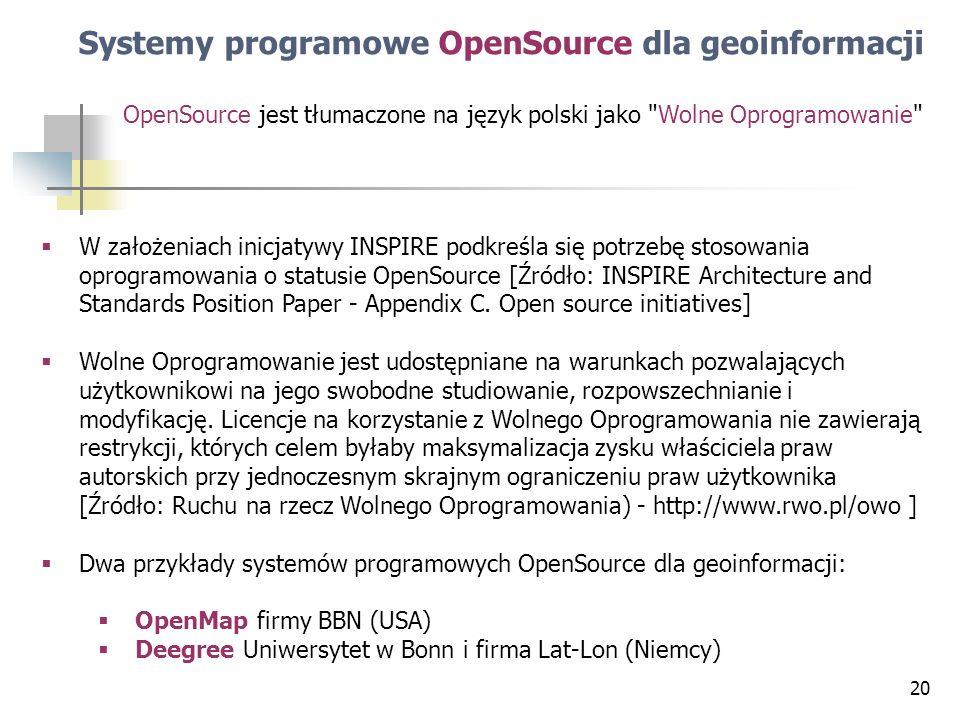 Systemy programowe OpenSource dla geoinformacji