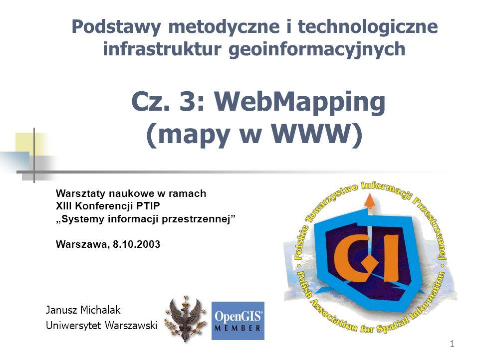 Podstawy metodyczne i technologiczne infrastruktur geoinformacyjnych Cz. 3: WebMapping (mapy w WWW)
